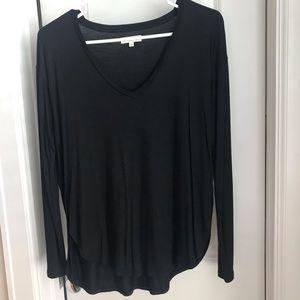 Madewell black long sleeve v-neck top